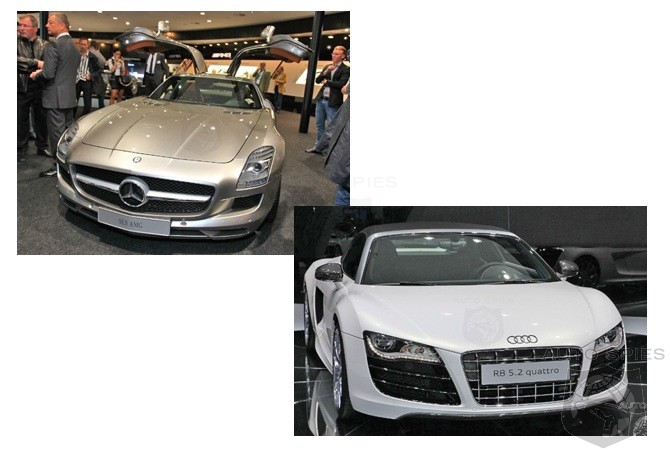 What's HOTTER And Which Would You Rather Have? Audi R8 or New Mercedes SLS?
