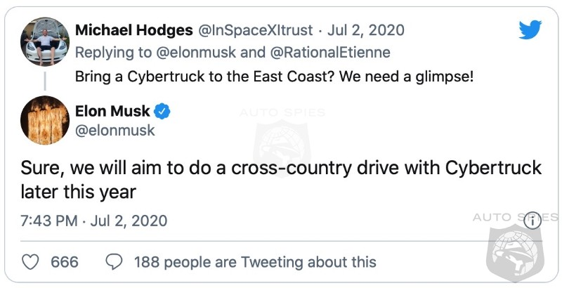 Elon To Take CyberTruck From Coast To Coast Like Butter On Toast. As The LOOK Starts To GROW On Truck Lovers.
