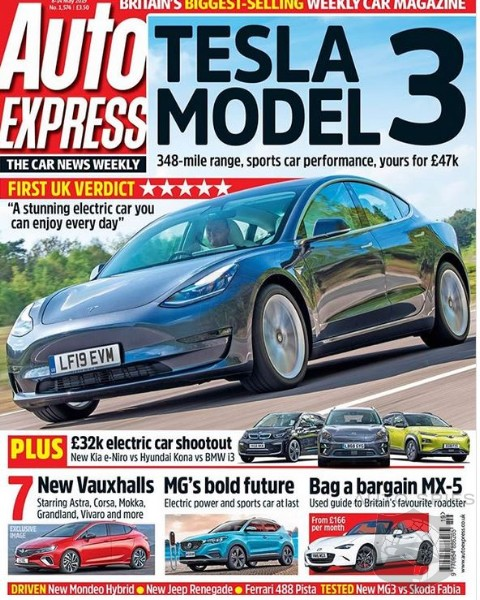 European Magazine Rates Telsa Model 3 Five Out Of Five Possible Stars