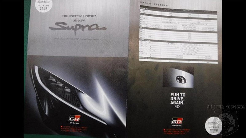 Alleged 2018 Toyota Supra brochure leaks out