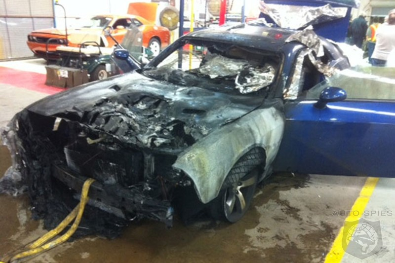 2011 Dodge Challenger on fire at Chrysler plant